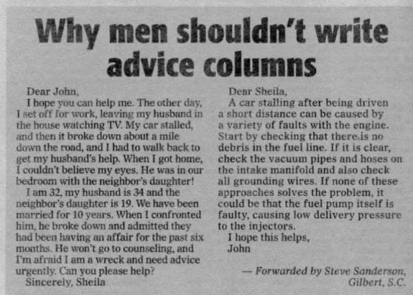 Men shouldn't write advice columns