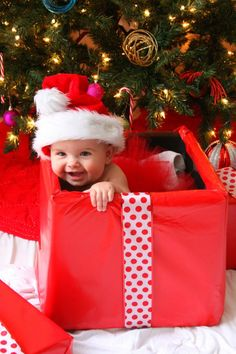 baby in christmas present