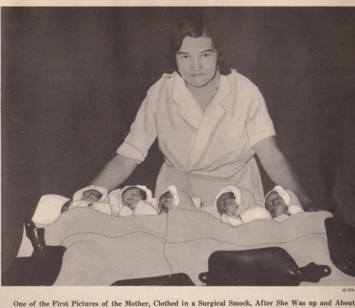 Dionne quintuplets with mother