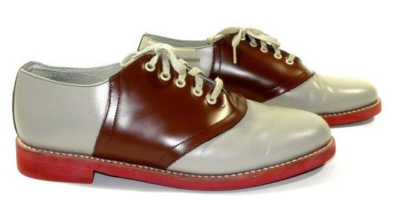 beige and brown saddle shoes