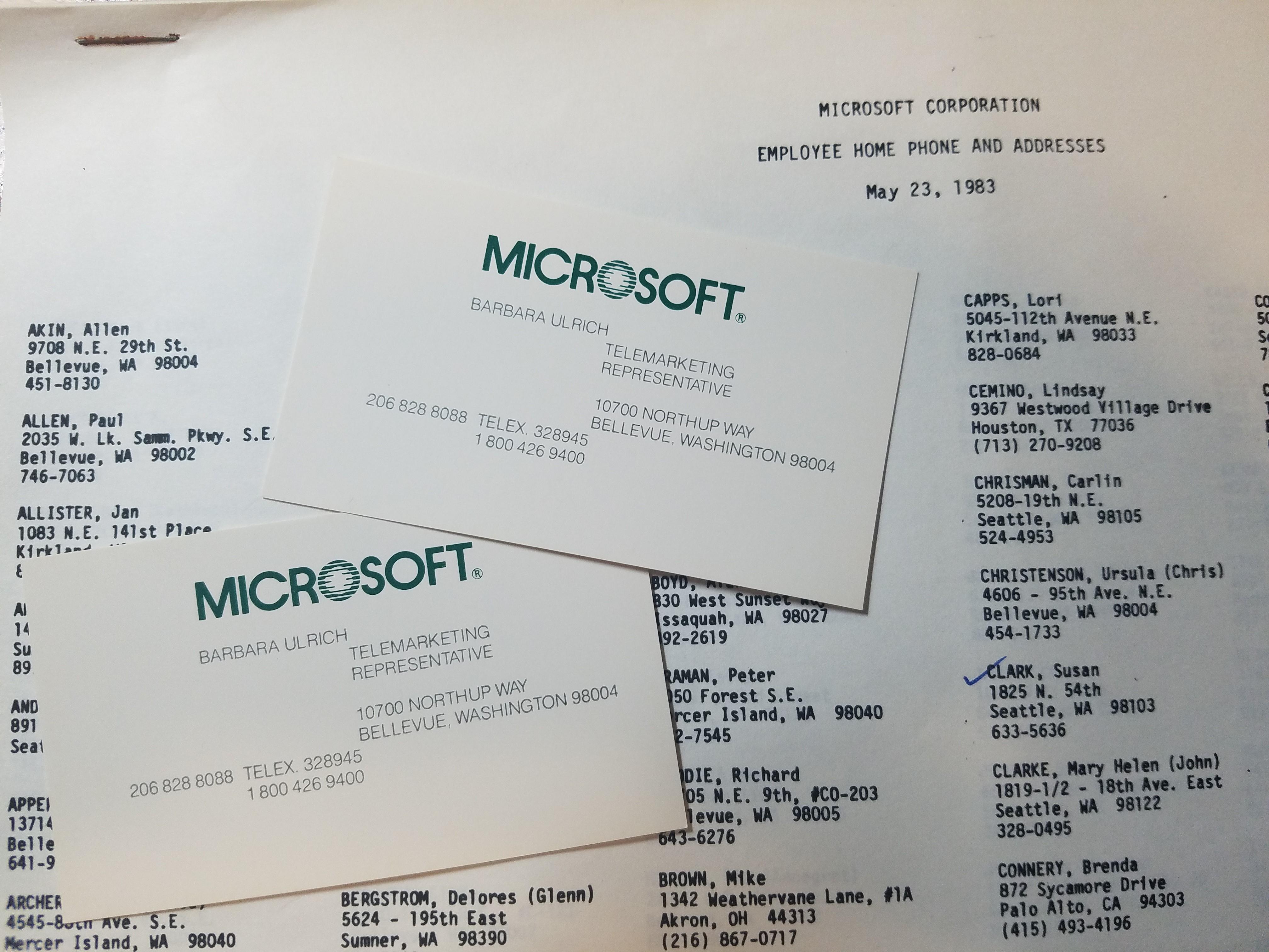 Microsoft phone list 1983